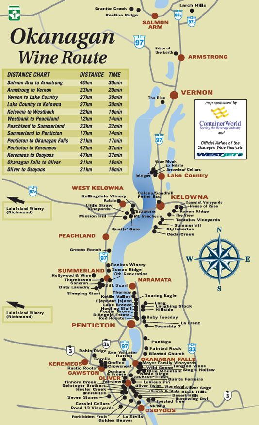 Okanagan Wineries Map Okanagon Wine Tours   Would like to get out there to check out