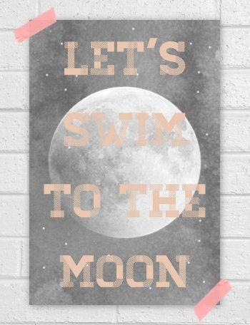"Paper Artwork – Vapor Qualquer ""Let's swim to the moon"""