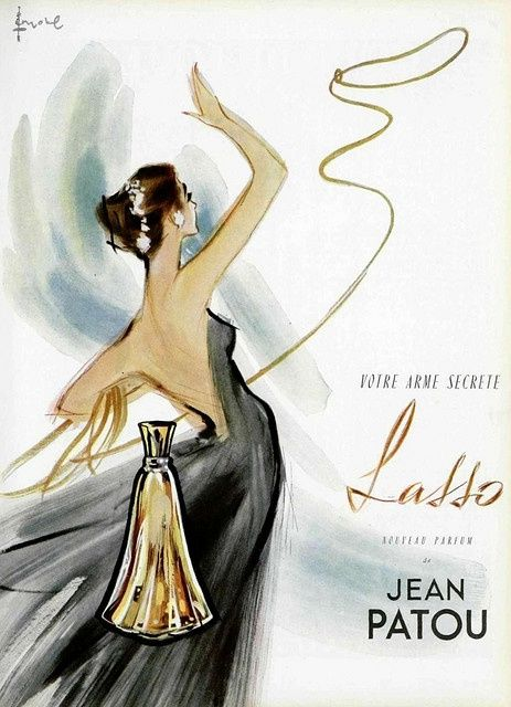 Jean Patou Perfume Ad (French) by Addie. c1950s
