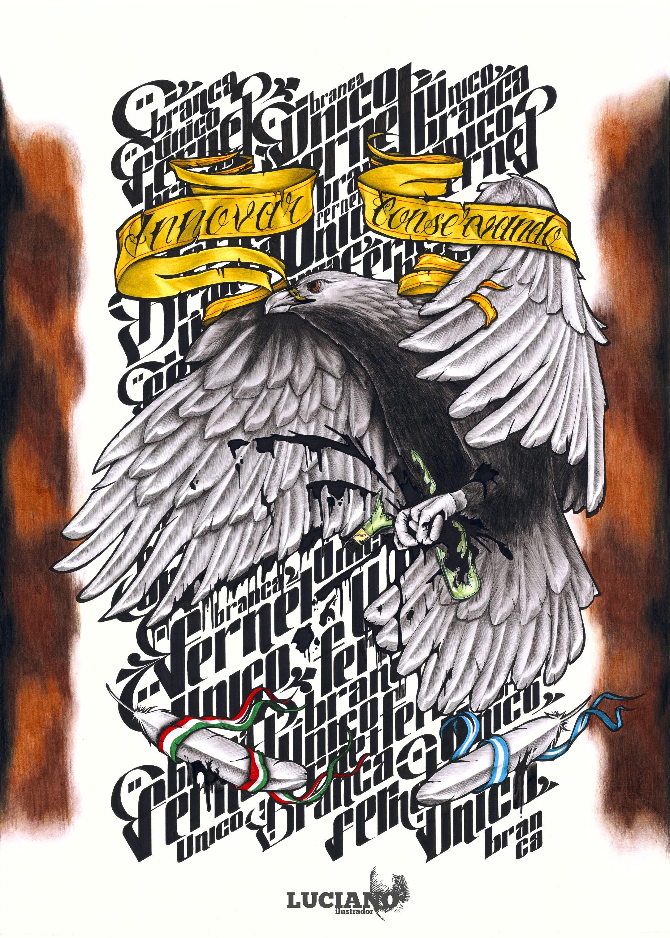 Afiche dibujado a mano en 50x70 cm para el concurso de afiches de Fernet Branca Arte Único 2013.
