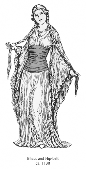 The Middle Ages ~ Bliaut with demi corsage, or hip belt