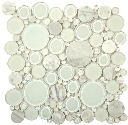 Bubble Series Random Circles White Dove Bubble Glass White Doves Stone Mosaic