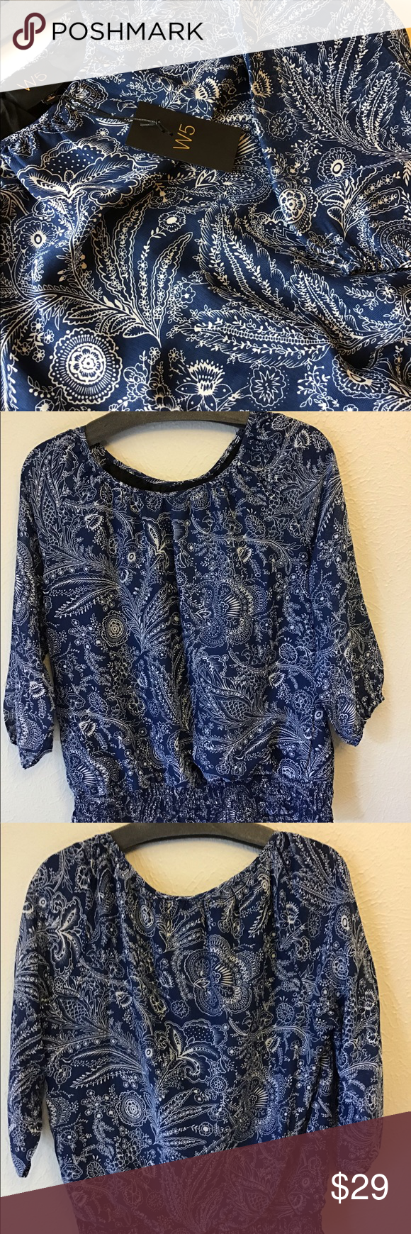 NWT W5 short sleeve blouse Beautiful blue pattern in this loose and lovely blouse. Wide Elastic waist.   W5 Medium NWT  Fun print for a fun gal!  Bundle and save all your faves.   Thanks!❤️ W5 Tops Blouses #wfaves NWT W5 short sleeve blouse Beautiful blue pattern in this loose and lovely blouse. Wide Elastic waist.   W5 Medium NWT  Fun print for a fun gal!  Bundle and save all your faves.   Thanks!❤️ W5 Tops Blouses #wfaves NWT W5 short sleeve blouse Beautiful blue pattern in this loose #wfaves