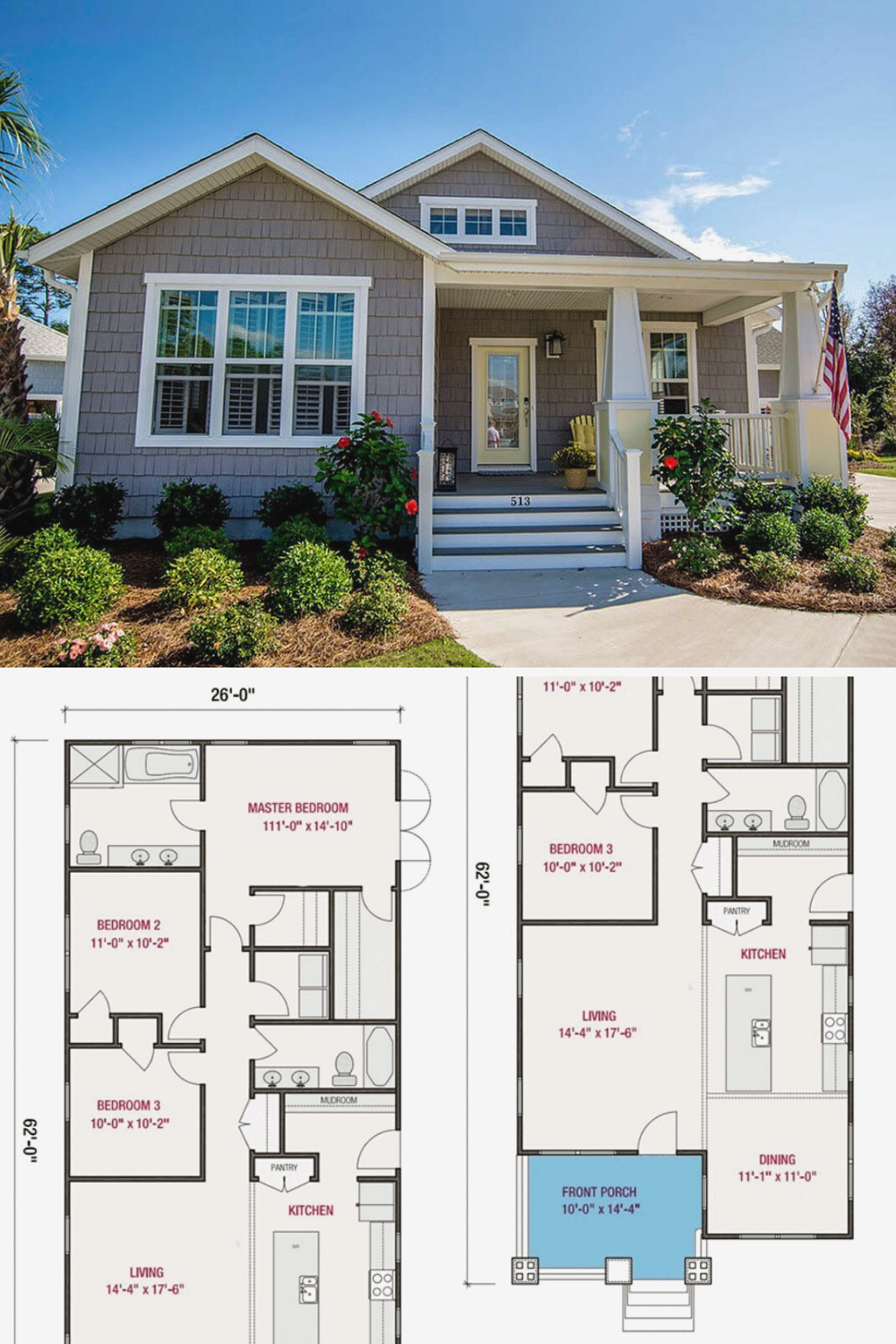 3 Bedroom Single Story Cottage Home Floor Plan Cottage Bungalow House Plans Narrow Lot House Plans Cottage House Plans