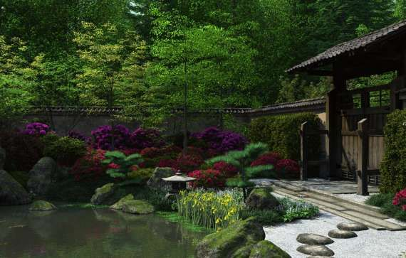 Japanese Garden Wallpaper Night By Jules2626
