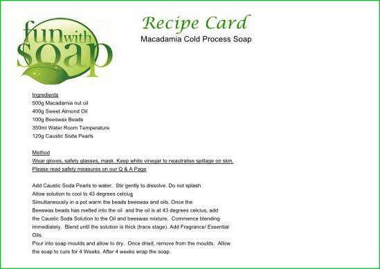 Recipe Card Macadamia Cold Process Soap | Crafts | Soap