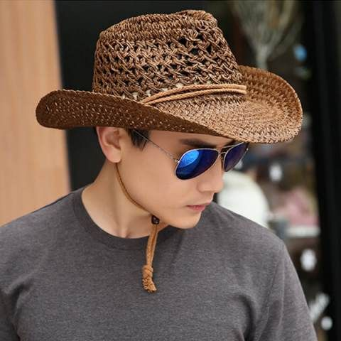Summer straw cowboy hats for men package hollow wide brim sun hat ... 951bed0b07ee