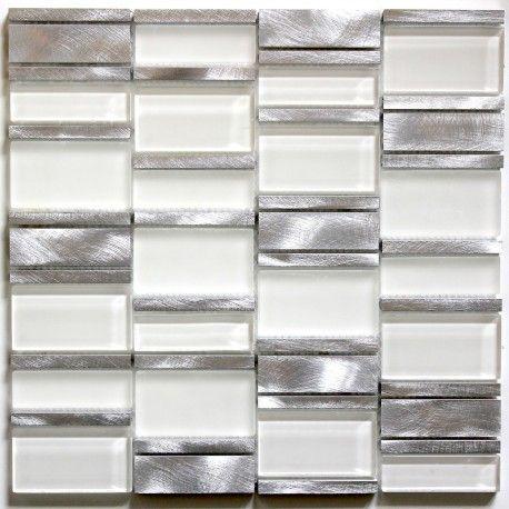 Mosaico Para Bano Y Ducha De Vidrio Y Aluminio Ma Cet Bla Cuisine Aluminium Credence Cuisine Carrelage Inox
