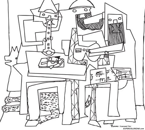 Three Musicians By Pablo Picasso Coloring Page Free Printable Coloring Pages Picasso Coloring Famous Art Coloring Three Musicians
