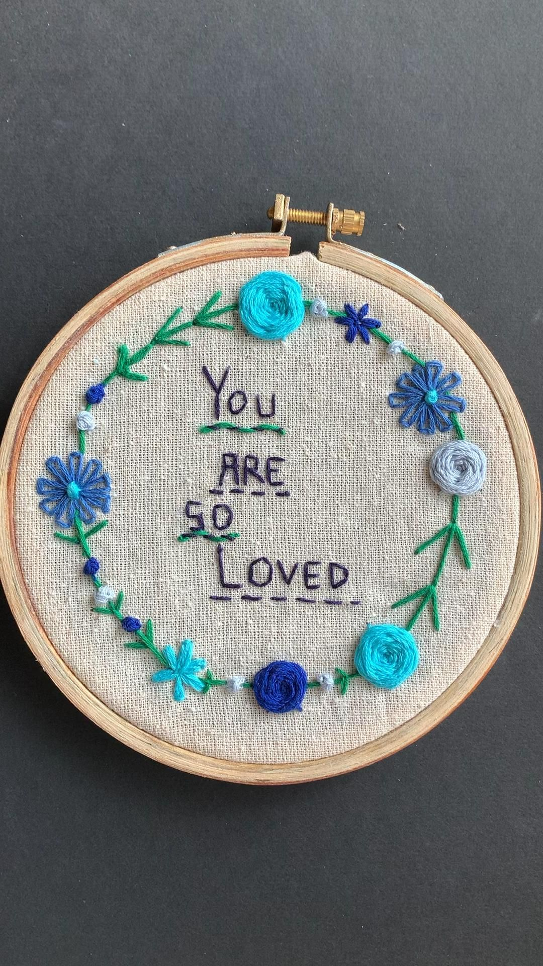Positive love quote embroidery