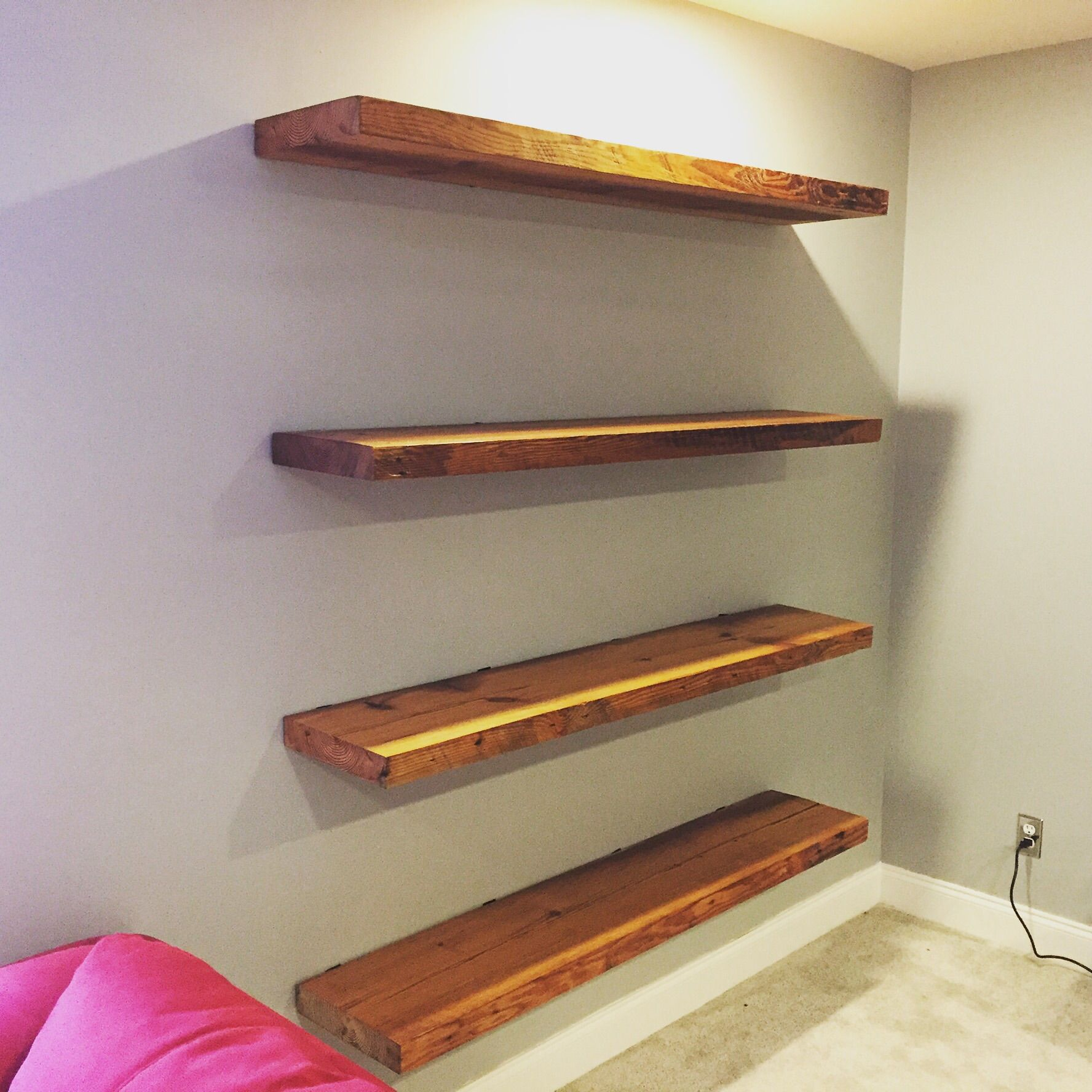Heart Pine Shelves Made From Old Floor Beams We Connected To The