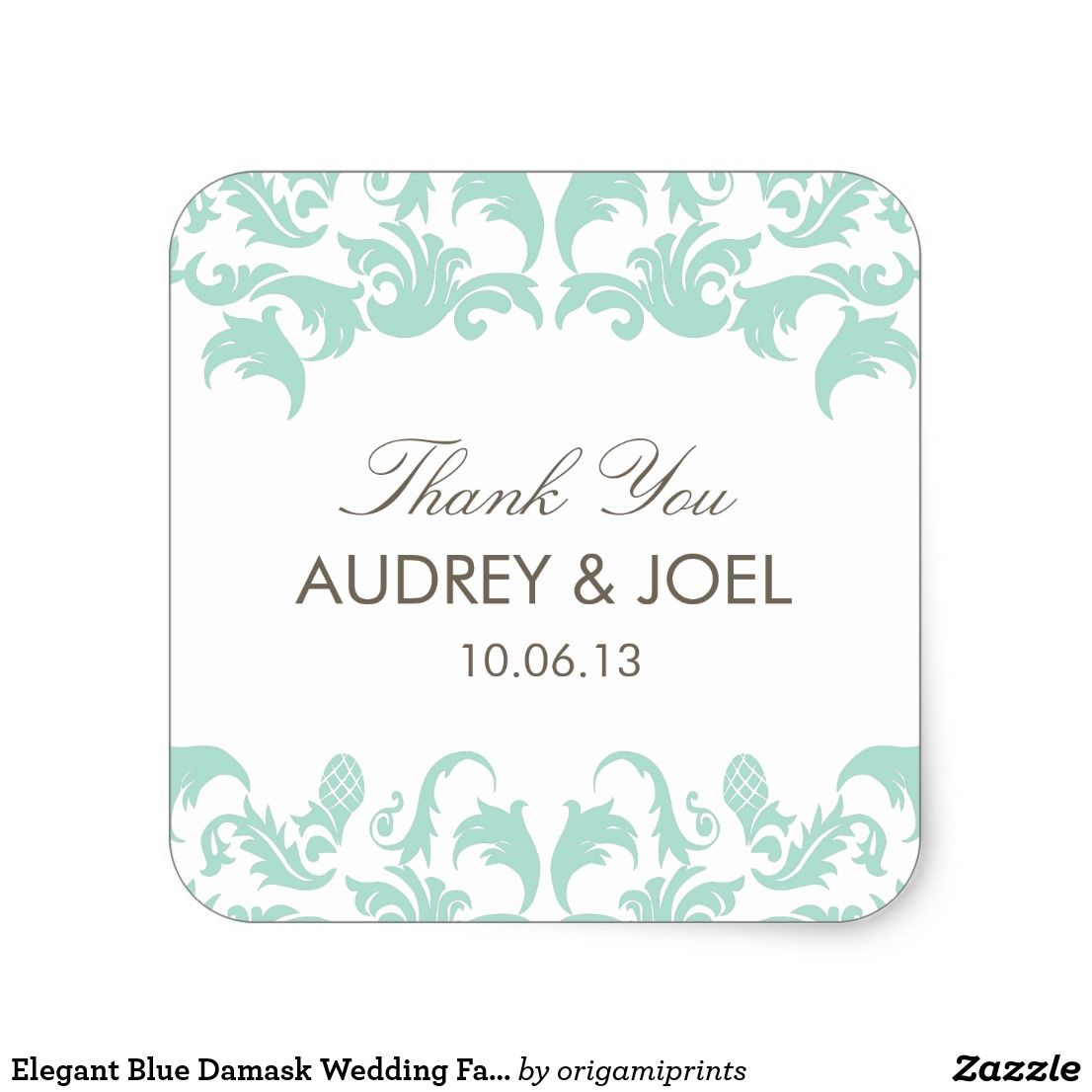 Elegant Blue Damask Wedding Favor Stickers | Favors and Weddings