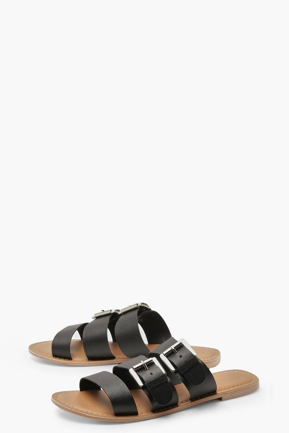 incredible prices online retailer various design Womens Wide Fit Leather Buckle Sliders - black - 5 | Jelly sandals ...
