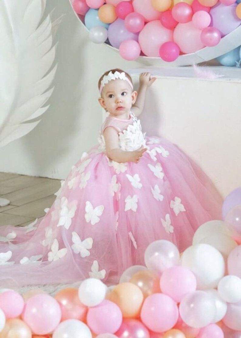 First birthday pink gown with butterflies for baby girl dress