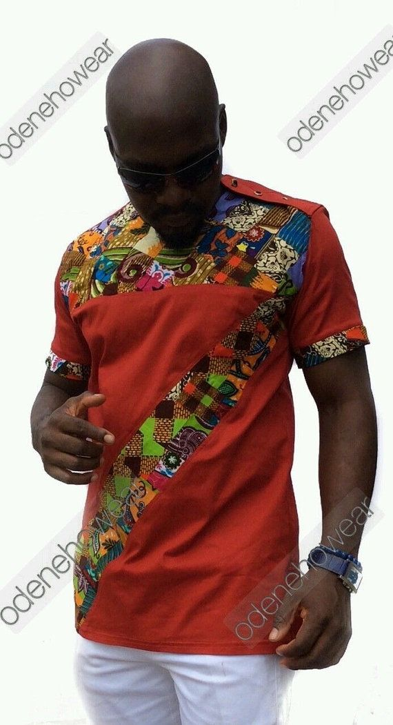 African Clothing Odeneho Wear Men/'s  Polished Cotton//Ankara Patch Design