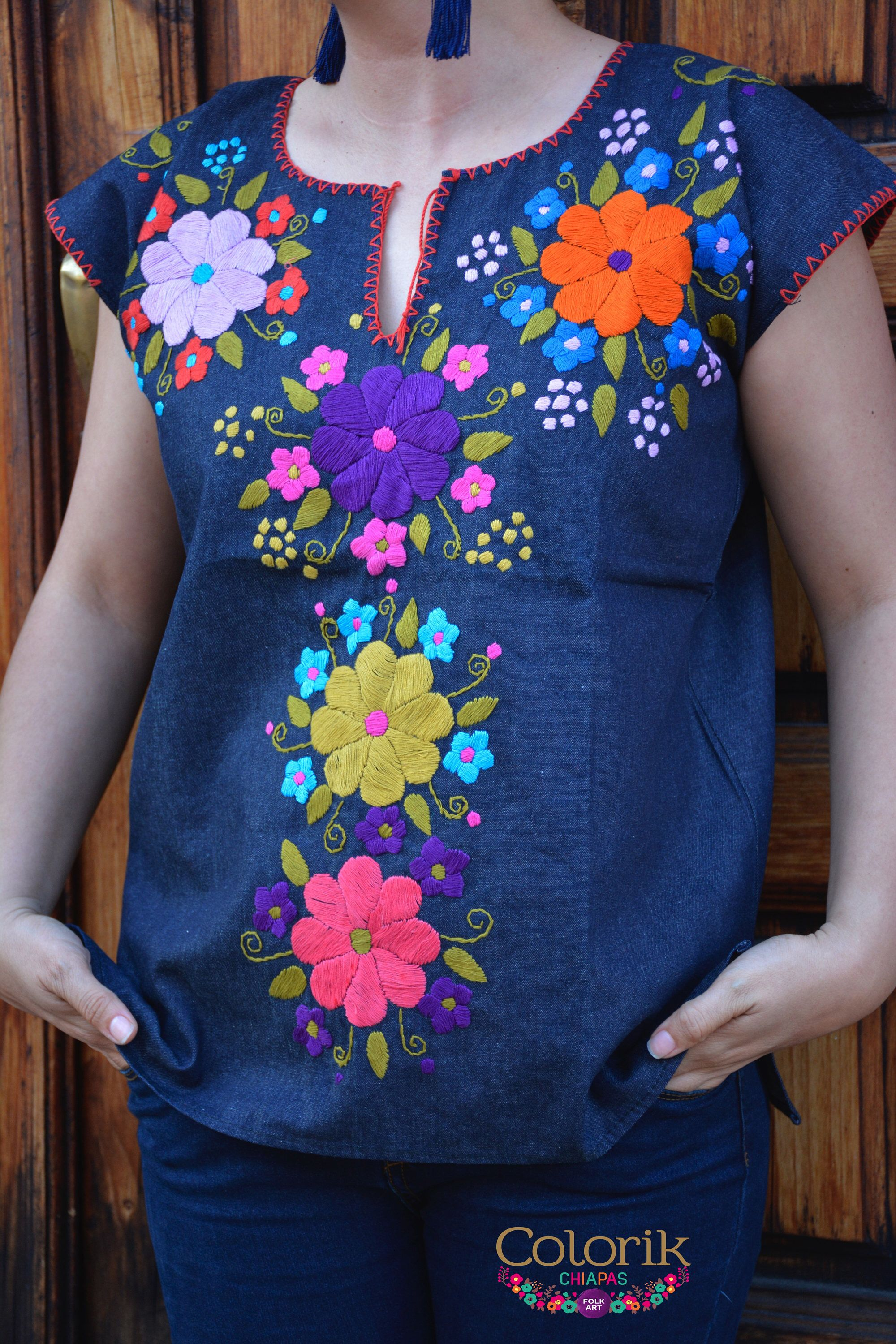 6ab164a003cc Embroidered Mexican Blouse Colorik | Embroidery | Blusas mexicanas ...