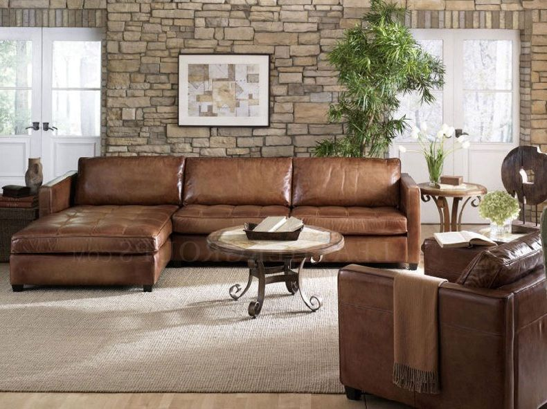 Furniture: Small Leather Sectional Sofa Design With Brown Leather Sofa,  Tile Decoration Wall, And Wooden Floor, Best Rated Leather Sectional Sofas,  ...