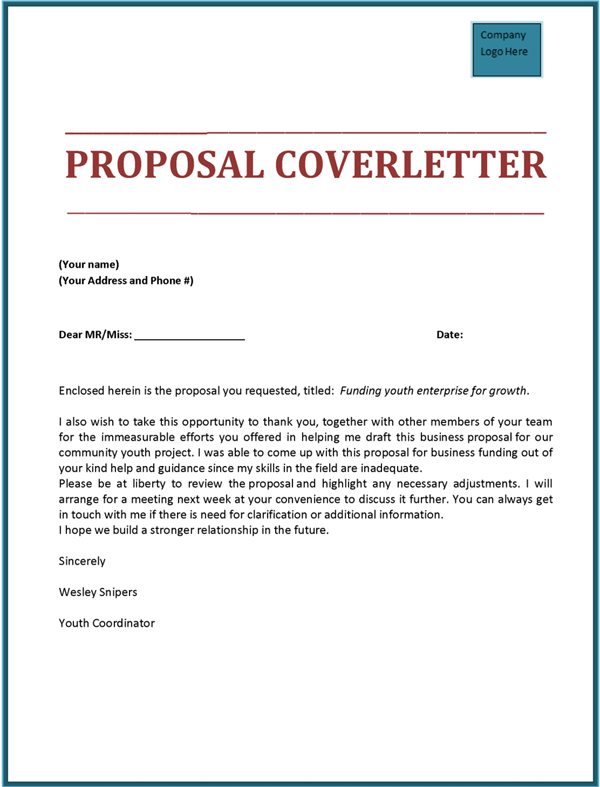 Proposal Cover Letter  Tools    Cover Letter Sample