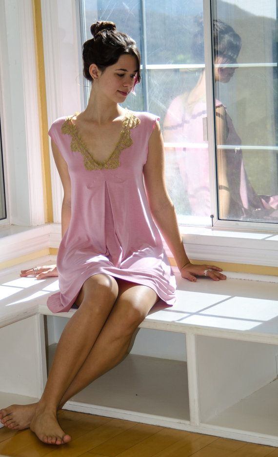 Womens Nightgown lingerie nightie in pink rose jersey with gold lace and  pleated front nightwear sleepwear soft pink modest 44d3548e5
