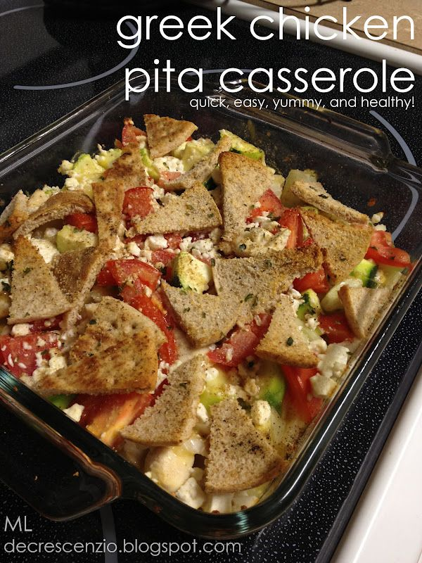 greek chicken pita casserole