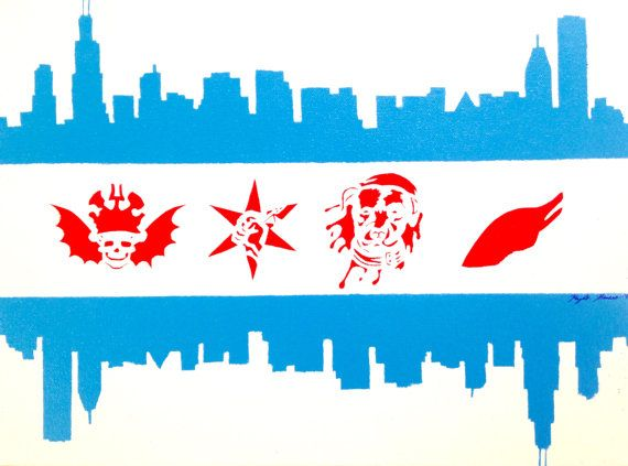 Chicago Flag Skyline Sports Painting With Images Sports Painting Chicago Flag Painting