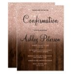 Rose gold glitter pink ombre wood confirmation invitation | Zazzle.com #goldglitterbackground