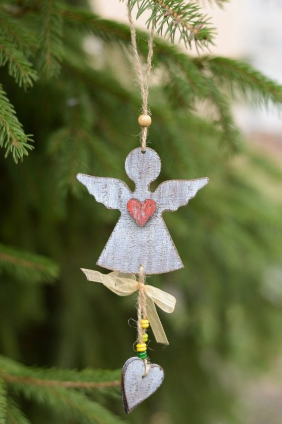 Angel Ornaments For Christmas Tree.Christmas Decoration Christmas Tree Ornament Rustic Holiday