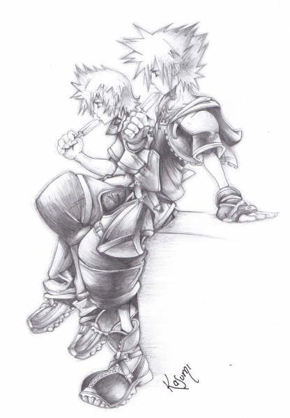 Sora & Roxas on the clocktower | Drawings // Sketches | Pinterest ...