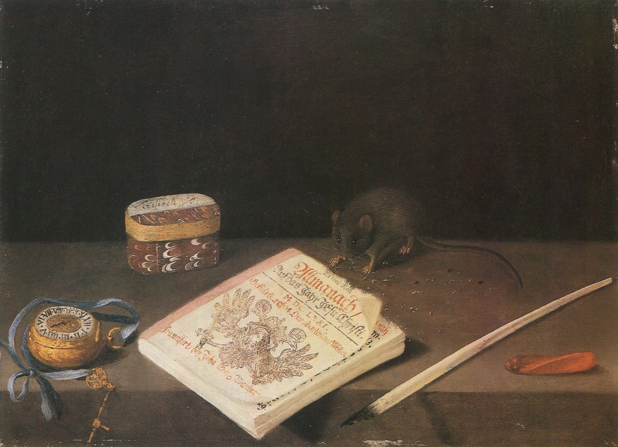   School of Frankfurt, circa 1671 - A Mouse chewing an Almanac with a Pocket Watch, a Quill, Sealing Wax and a Box on a Ledge  