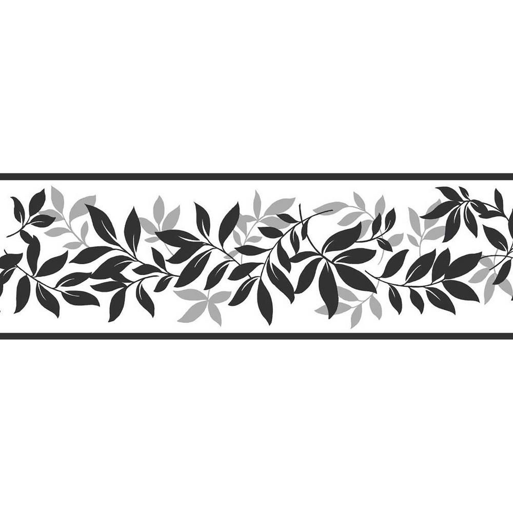 Brewster Leaf Trail Floral Peel and Stick Wallpaper Border