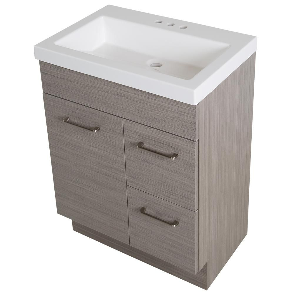 Glacier Bay Jayli 24 5 In W Vanity In Haze With Cultured Marble Vanity Top In White With White Sink And Mirror Ja24p3 He The Home Depot Marble Vanity Tops Cultured Marble