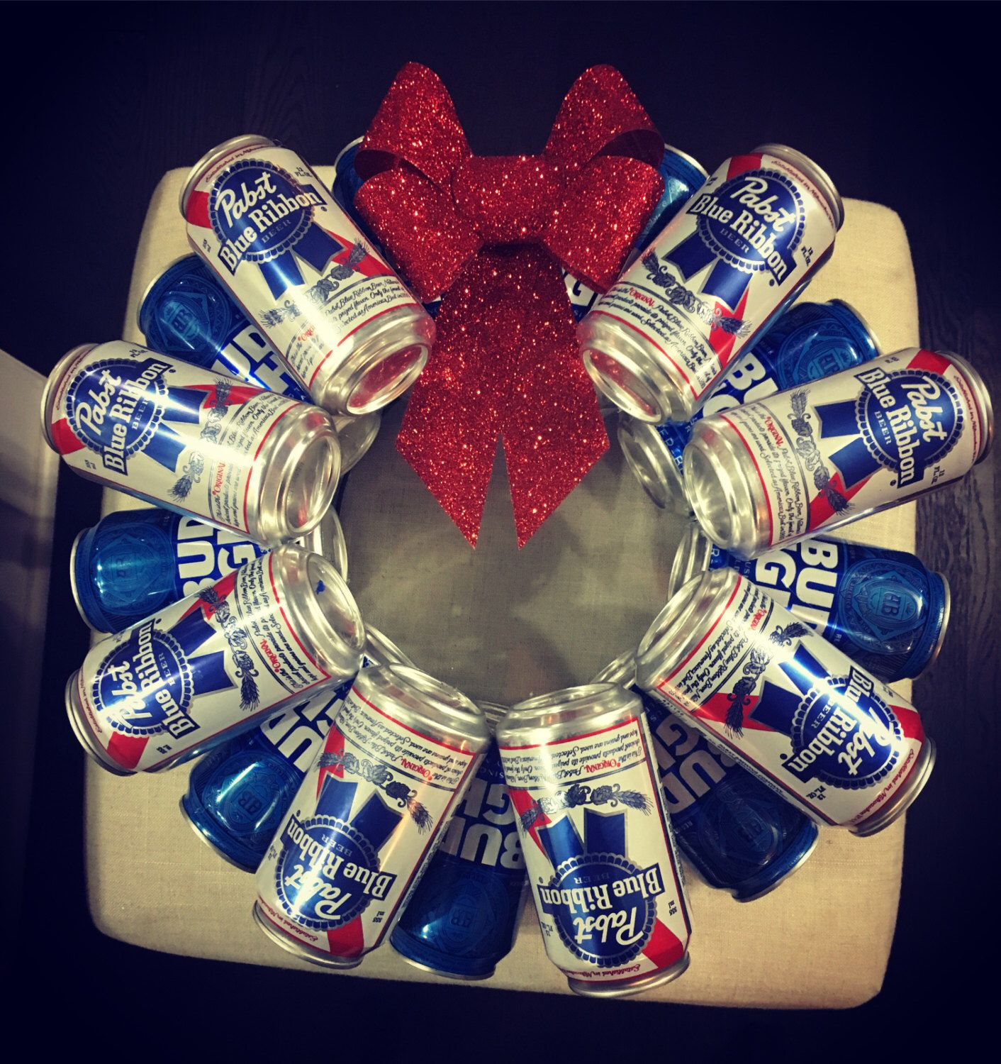 #diy #wreath #beer #rrr #homemade #etsy   A personal favorite from my Etsy shop https://www.etsy.com/listing/495760285/beer-can-wreath
