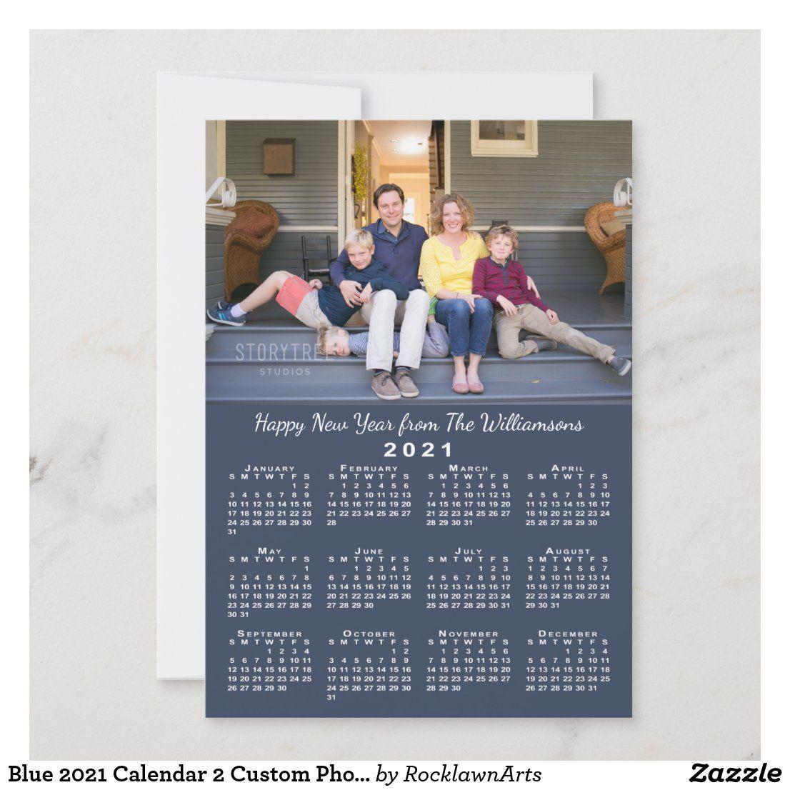 Blue 2021 Calendar 2 Custom Photos Happy New Year Holiday