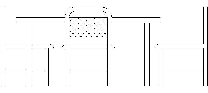Mesa De Comedor En Alzado Con 3 Sillas Archivo Con