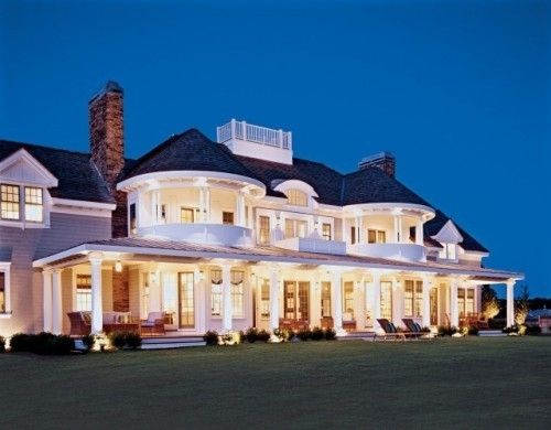 houzz hamptons in the country | Home in the Hamptons turret balconies, widow walk, dormers by Marilyn ...
