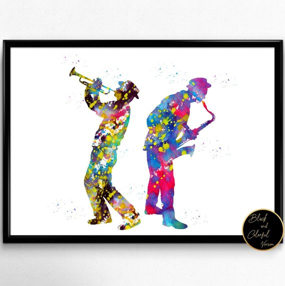 MUSIC JAZZ SAXOPHONE PLAYER WATERCOLOUR CANVAS PRINT WALL ART PICTURE PHOTO