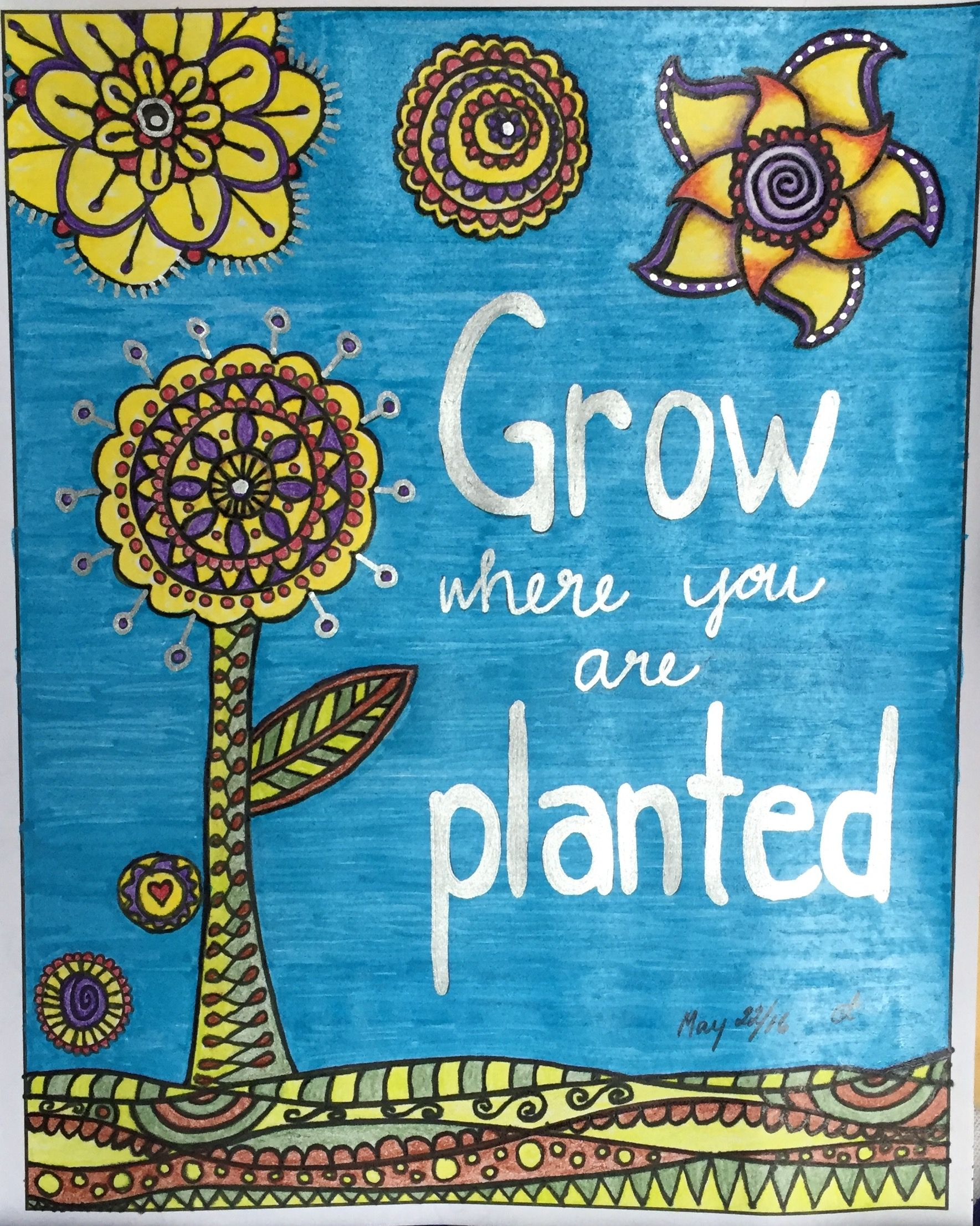 Grow where you are planted book zendoodle coloring
