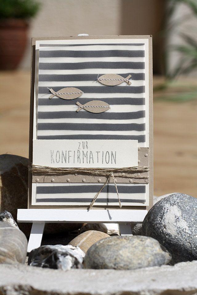 Karte zur Konfirmation mit Savanne, Vanille und dem Designerpergament Pure Perfektion von Stampin up aus der Sale a Bration 2015.