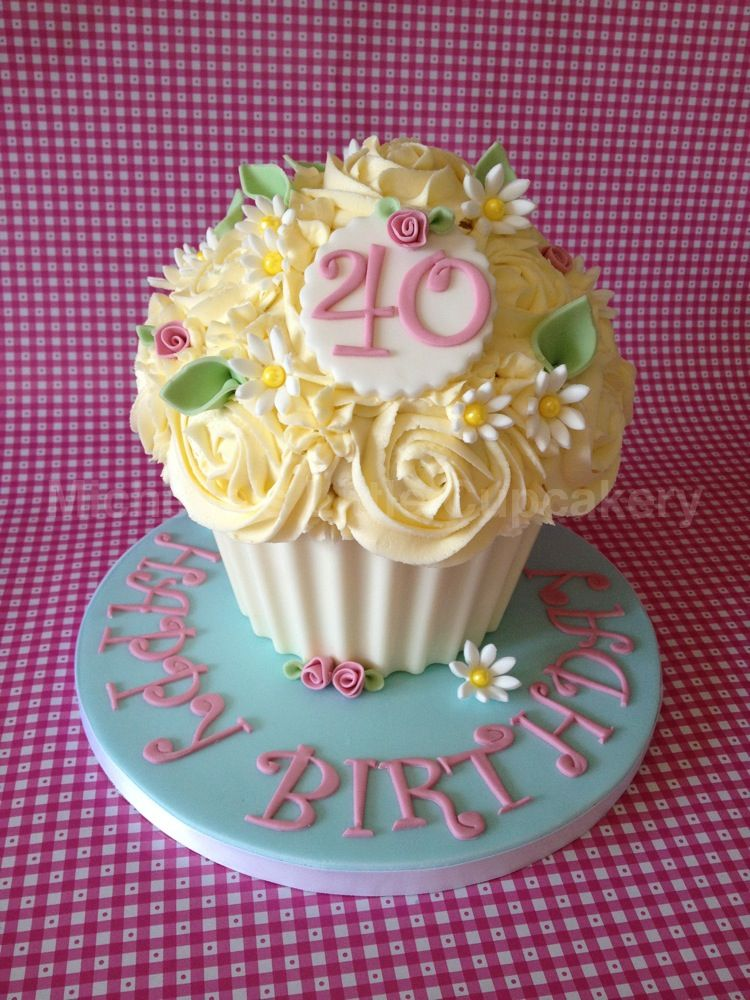Lemon 40th Birthday Giant Cupcake