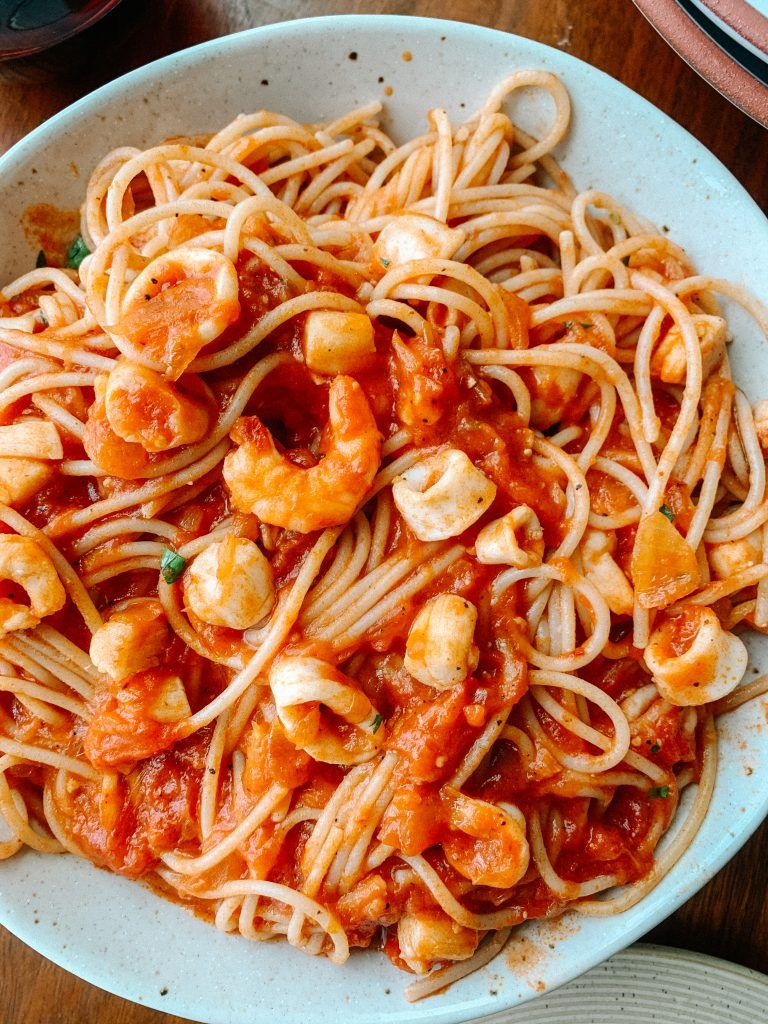 Spicy Seafood Pasta Gluten Free Dairy Free Recipe In 2020 Seafood Medley Recipes Spicy Seafood Pasta Seafood Pasta