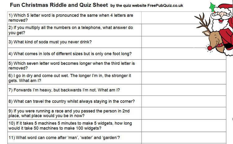 A4 Christmas Quiz Handout -download and print for free - 25 fun