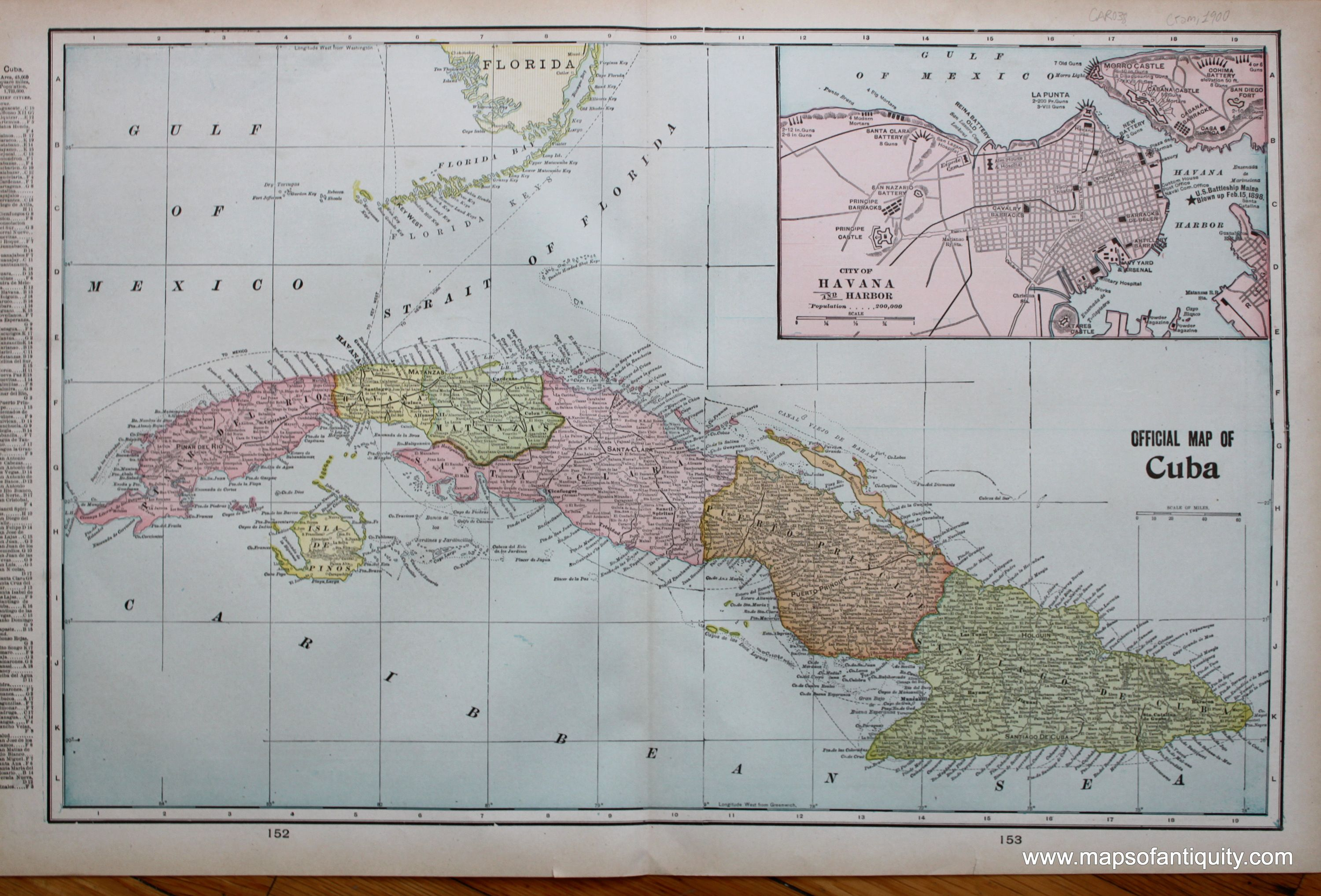 Official Map of Cuba verso Mexico and
