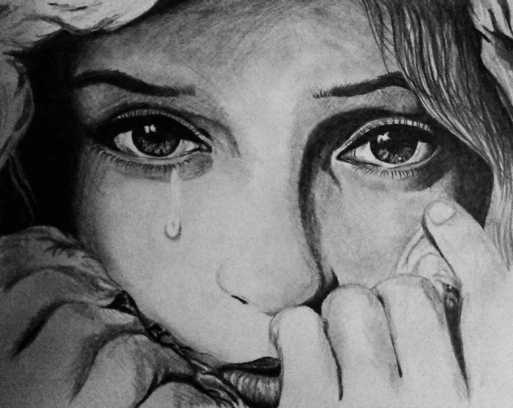 Sad face crying drawing