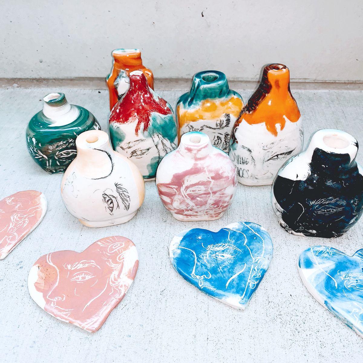 Glaze Pencil & Sgraffito Technique • #pottery#ceramics#homedecor#moderndecor#urbanoutfitters#uohome#glaze#blackart#blackartists#rockhill#southcarolina#sgraffito#drawings#sketching#glazepencil