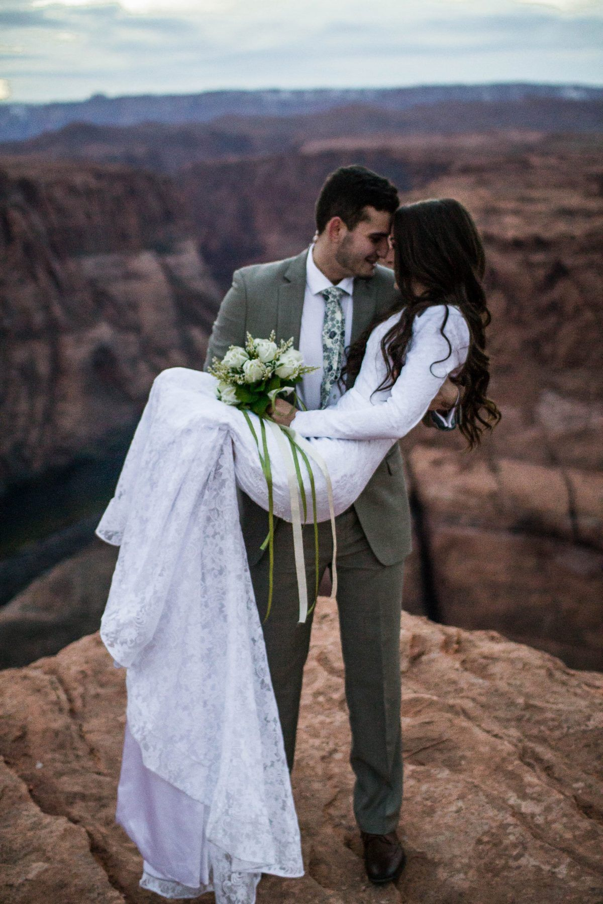 Simple wedding dresses for eloping  Madison and Rhettus Proposal on The Knotus HowHeAsked  Grand