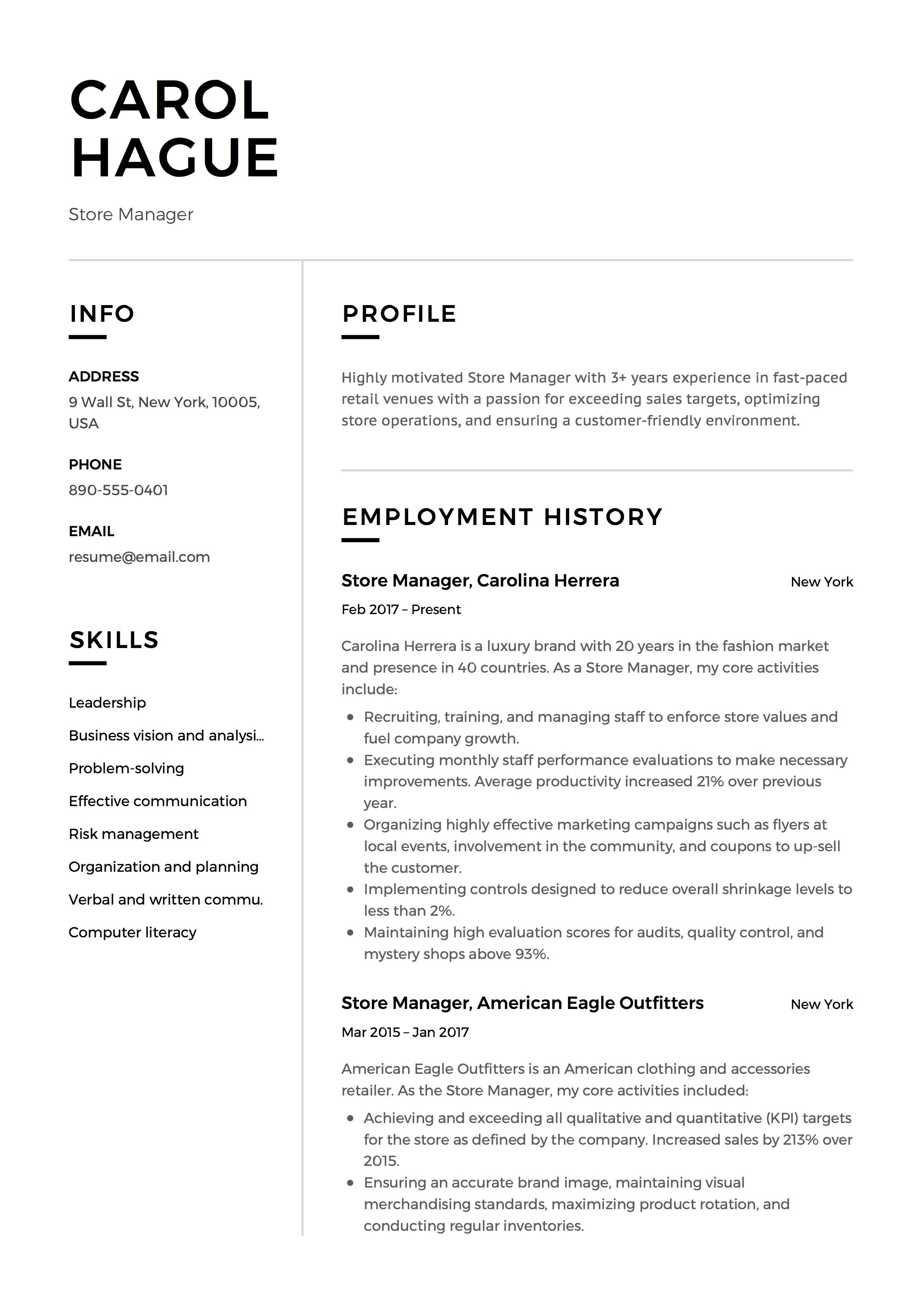 Store Manager Resume Sample Template Example Cv Formal Design Manager Resume Resume Guide Resume Examples