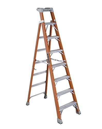 Louisville Ladder 8 Foot Fiberglass Step Shelf Ladder 300 Pound Capacity Orange Fxs1508 With Images Step Ladders Ladder Step Shelves
