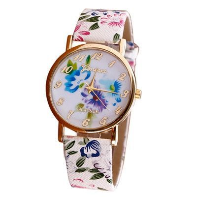 Watch Women Trendy Fashion Flower Patterns Dress Watches Female Hour Leather…