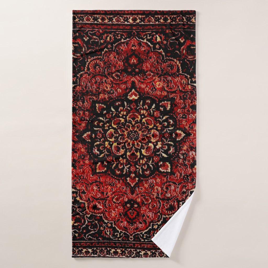 Persian Carpet Look In Rose Tinted Field Bath Towel Persian Carpet Carpet Patterned Carpet