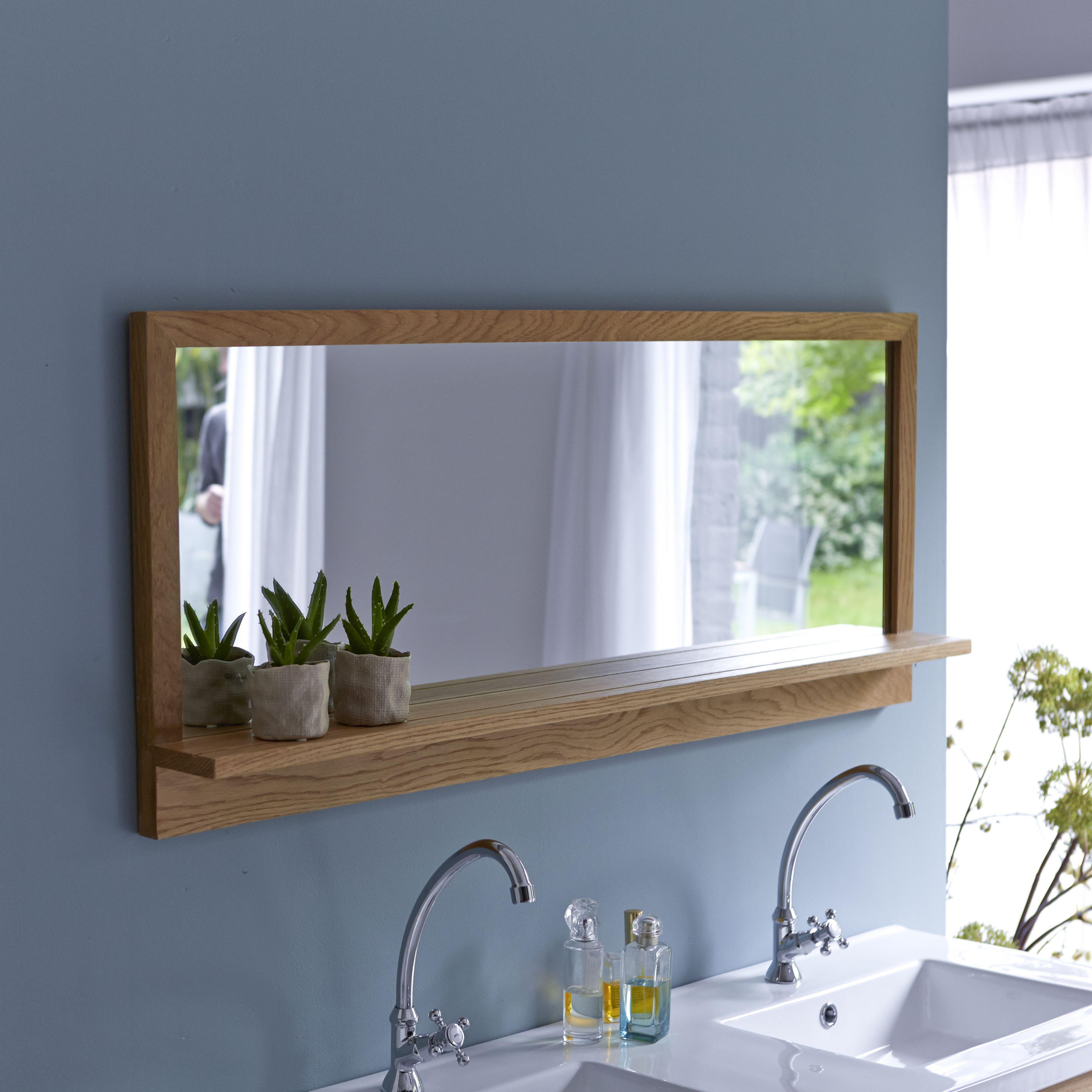 Bathroom Mirror Frame, Oak Framed Bathroom Mirror With Shelf